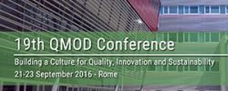 The 19th QMOD/ICQSS Conference 2016 - 2nd Call for Papers - Rome, Italy, 21-23 September, 2016